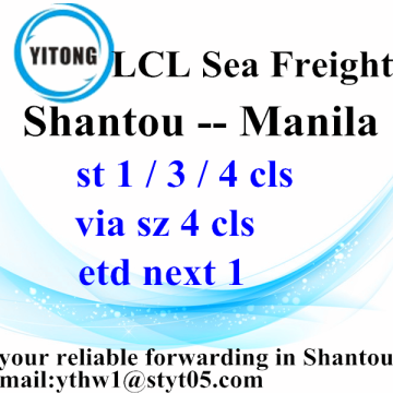 China Factory for Sea Freight LCL Shantou LCL Consolidation Freight Agent to Manila supply to Armenia Manufacturer