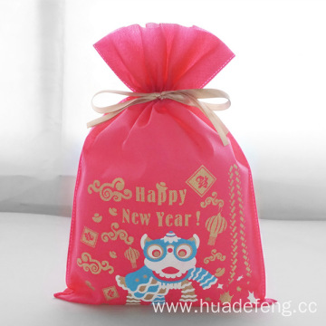 Non-woven 2020 New Year Drawstring GIft Pouch