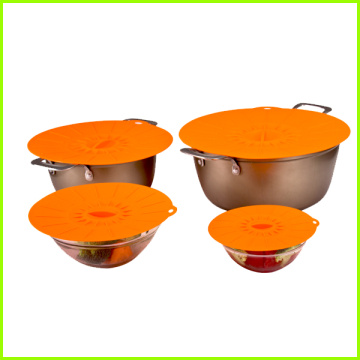 Non spill FDA LFGB silicone food storage covers