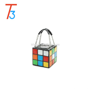 New Style Colorful Magic Cube Tote Bag Fashion Handbag PU Leather 15*15*15 cm