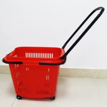 Supermarkets plastic shopping basket with wheels