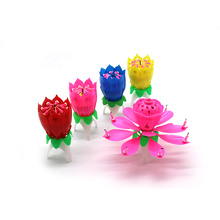 Double-deck rotating lotus music Birthday candles