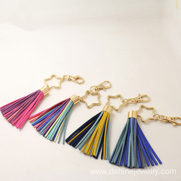 Colorful South Korea Velvet Fringe Keychain With Star Charm