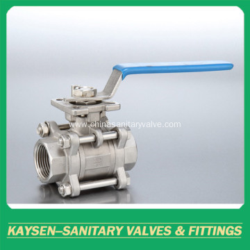 Sanitary manual three pieces female threaded ball valves