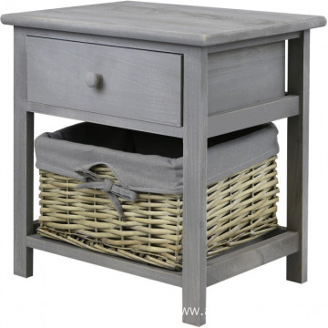 Factory direct cheap wooden night stand Bedside Table with willow Basket