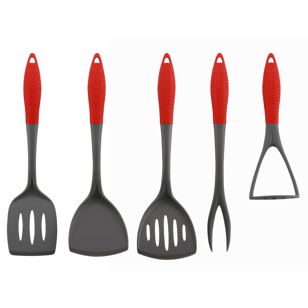 New Style Rubber Handle Nylon Kitchen Utensil Set