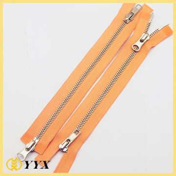 Silver 2 way open end metal zipper
