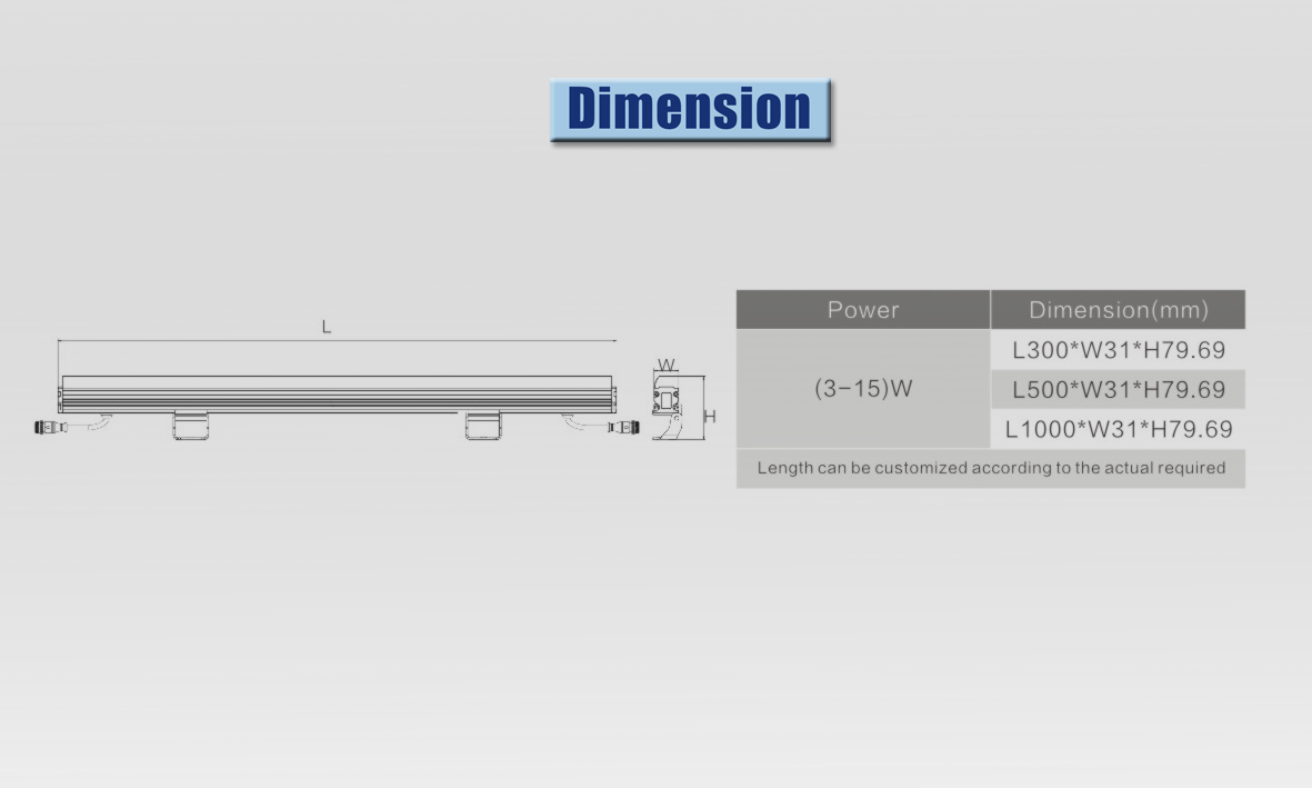 led wall washer dimension
