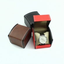 Elegant black leather watch box