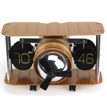 Antique plane shape table flip clock