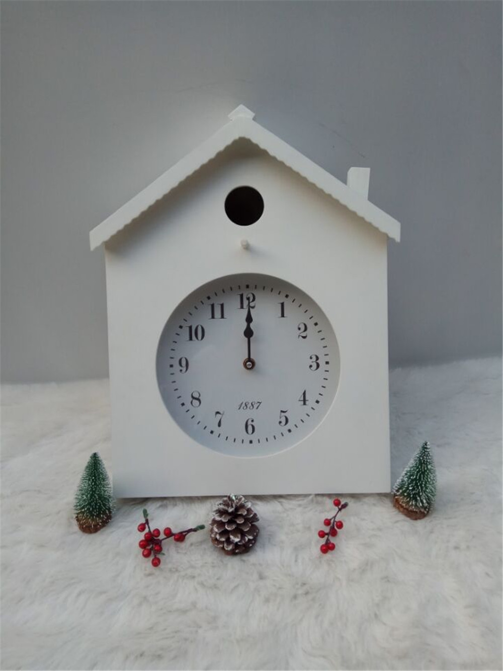 white wooden clock