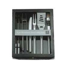 9pcs BBQ tool set with color box packing
