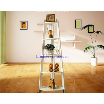 Cheap 5-Tier wood Corner Ladder storage display foldable Shelf bookcase