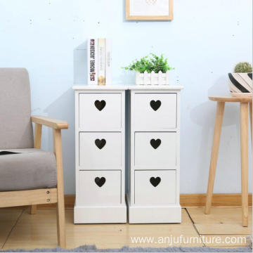 White 3 drawers wood cabinet