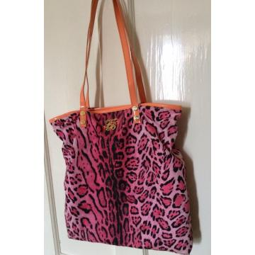 Pink Leopard Print Canvas Shopper bag