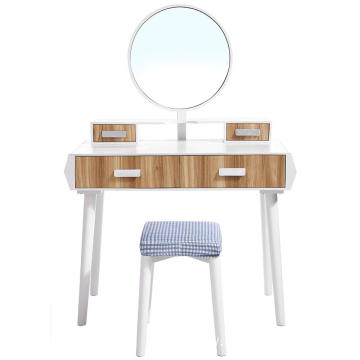 Mid Century Modern Dressing Table Desk with Cushioned Stool and Big Round Mirror