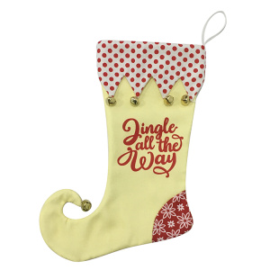 Christmas bright yellow stocking with Magic elf style