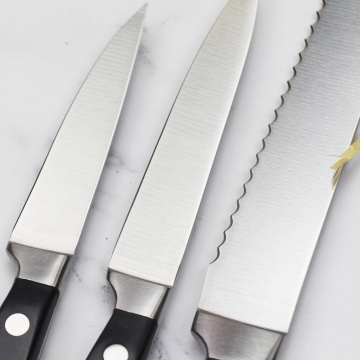 Quality stainless steel kitchen knife set with block