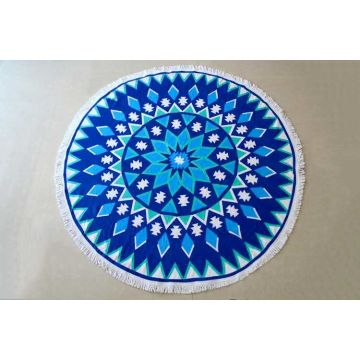 Microfiber Soft Mandala Beach Towel Round With Tassels