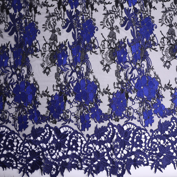 Two Tone Chemical Lace Border Embroidery Fabric