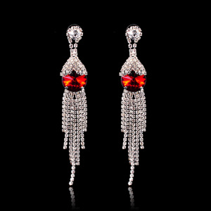 Red Rhinestone Drop Earrings Dangle Tassel Eardrops
