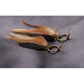 Antique Bronze Fashion Jewelry Chain Tassel Feather Earrings