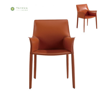 Stylish Orange Metal Frame Dining Chair with Armrest