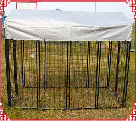 welded dog kennel with cover