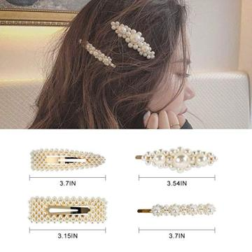 LADES 4 Pack Pearl Hair Clip Hair Accessories