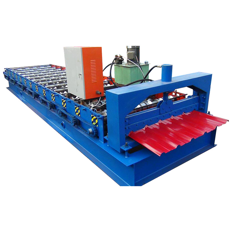 Red Trapezoidal Roofing Sheet Roll Forming Machine