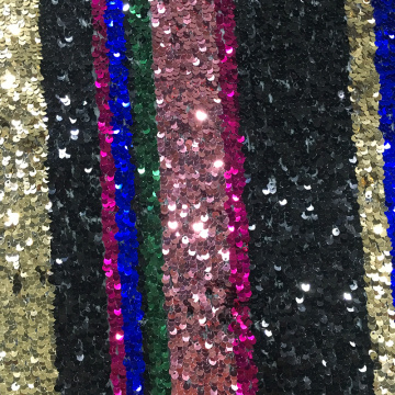 Regular Bright Sequin Embroidery On Poly Mesh Fabric