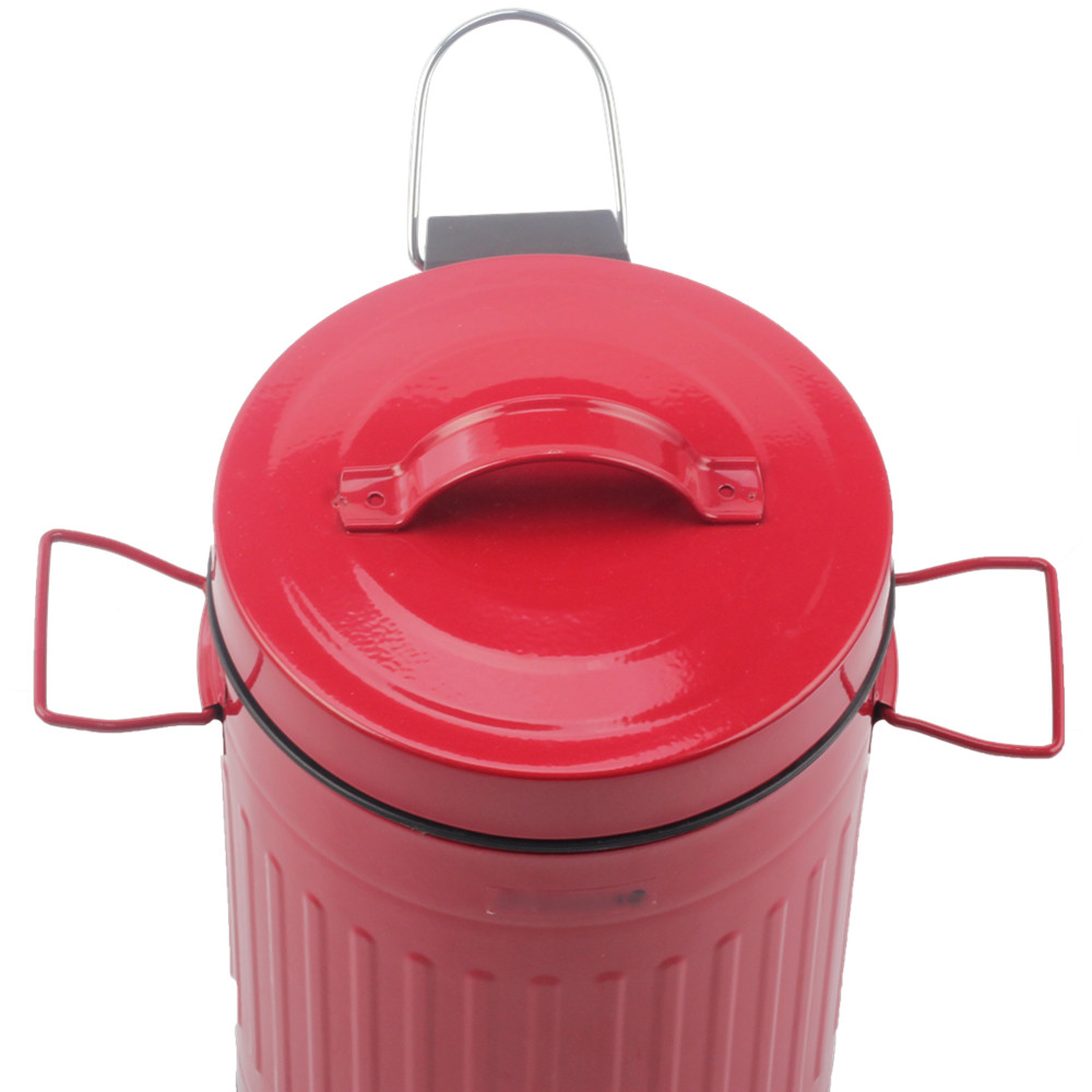 Red Pedal Bin With Handle