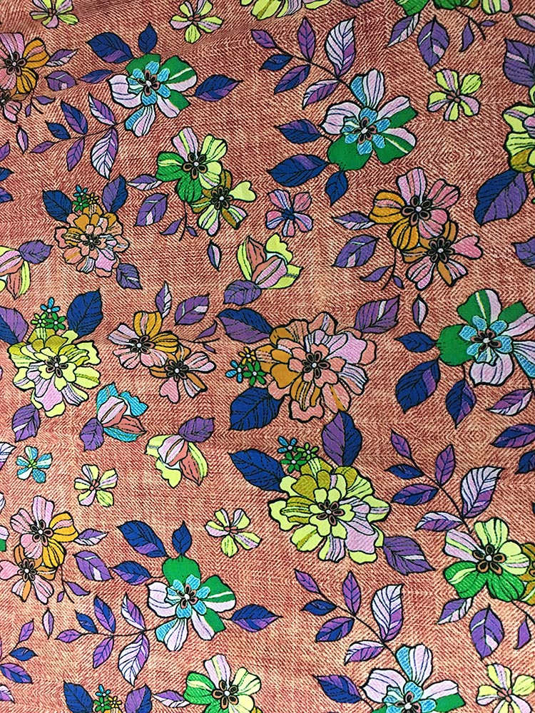 Denim Flower Design Rayon Challis 32S Printing Fabric