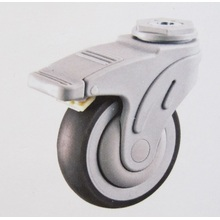 Plastic bolt hole medical total brake caster wheel