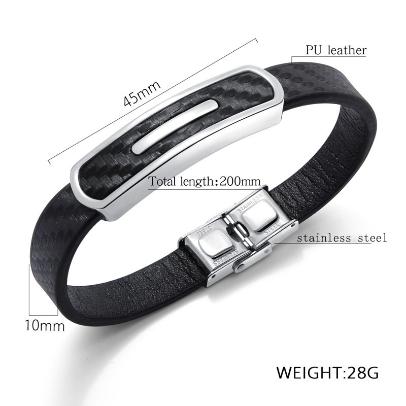 mens leather and stainless steel bracelets