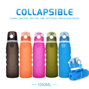 Wide mouth silicone collapsible water bottles