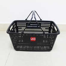 Factory source manufacturing for Shopping Basket With Wheels wholsale Supermarket plastic carry black shopping baskets export to Armenia Wholesale
