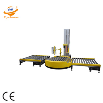 Heavy-duty conveyorized automatic pallet wrapping machine