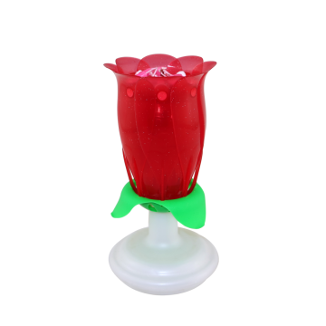 Rotating amazing musical rose flower candle
