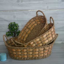 Oval Seagrass and Woodchip Storage Basket