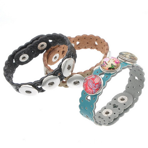 Heart Shape Leather Bracelet With Noosa Snap Button Band