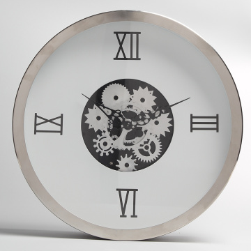 White Metal Hanging Clocks with Moving Gears