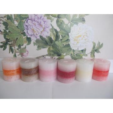 Colored Decorative Unscented  Layered Pillar Candle