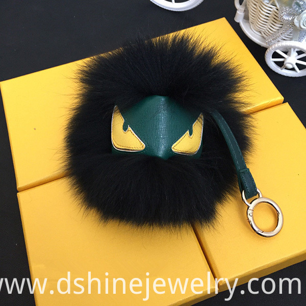 Emoji Fox Furry Ball Keychain