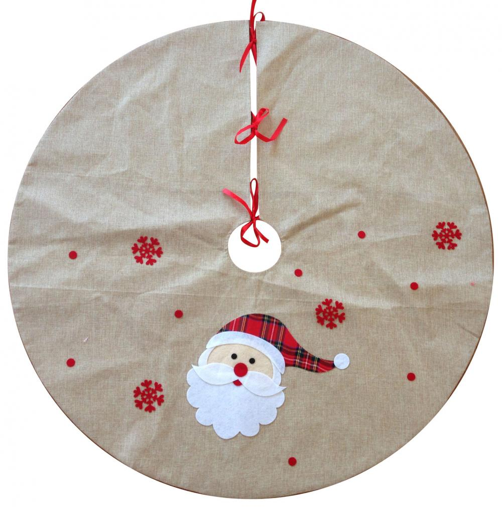 Christmas Burlap Santa Pattern Tree Skirt