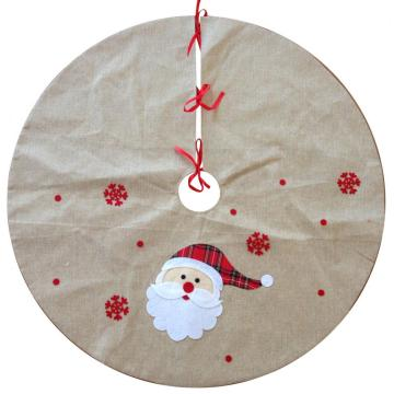 Christmas burlap tree skirt with santa pattern