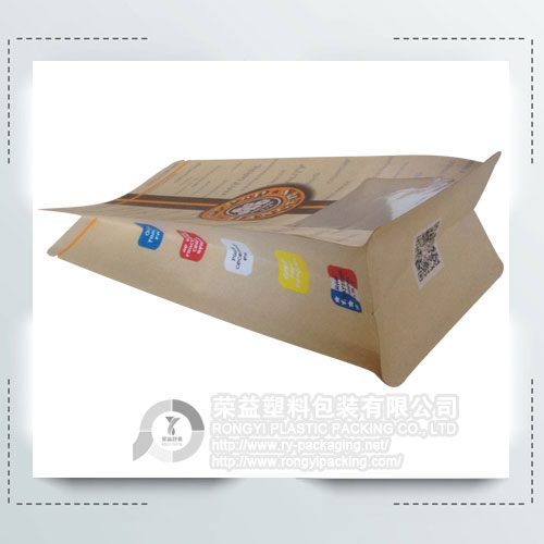 Popcorn Food Plastic Packaging Bag with Clear Window