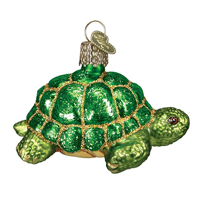 Tortoise Christmas Hand Painted Glass Ornaments