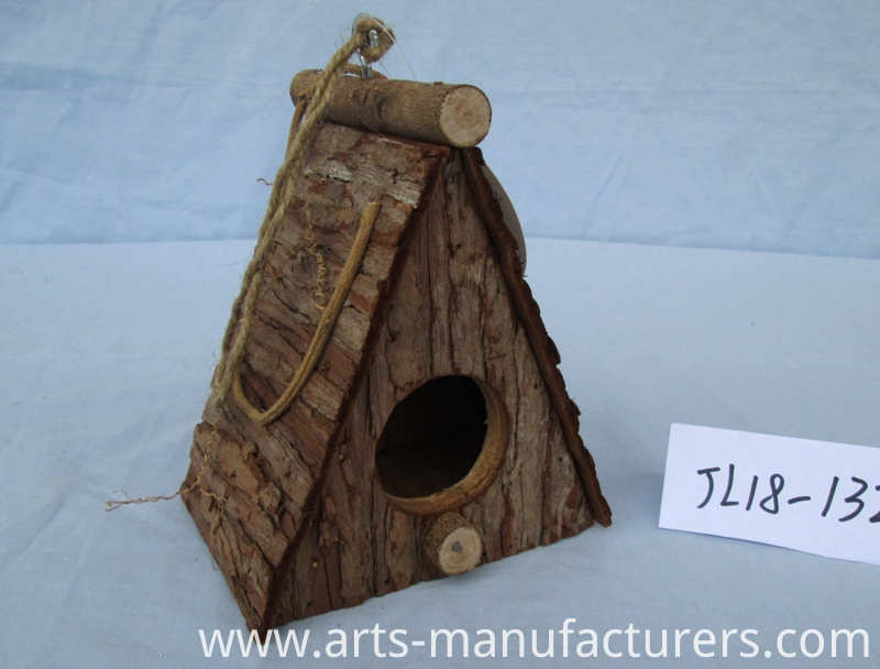wood bark bird cage