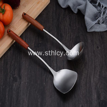Kitchen Gadget Stainless Steel Spatula Wooden Handle